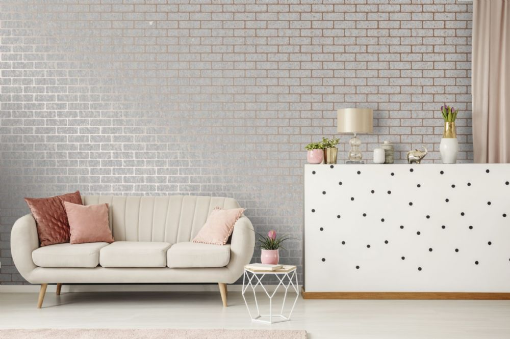 Graham and Brown Milan Brick Rose Gold 106522 Wallpaper